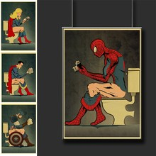 Funny Super Heroes Poster Toilet Decorative Posters And Prints Wall Pictures For WC Decor Stickers