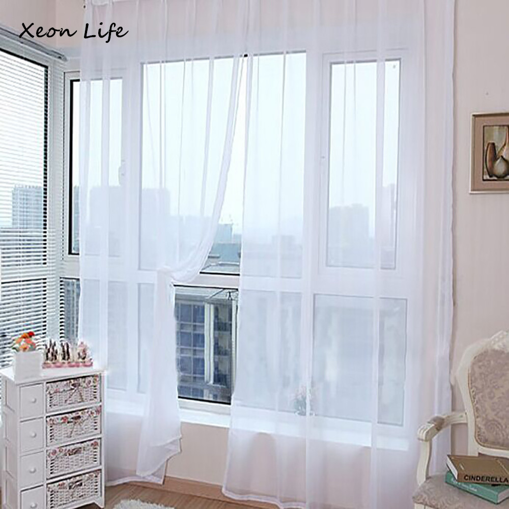 Hot Selling 1PC 270*100cm Pure Color Tulle Door Window Curtain Drape Panel Sheer Scarf Valances Modern Curtains For Living Room