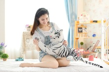 cute plush simulaiton tiger toy stuffed white lying tiger doll gift about 75cm 465