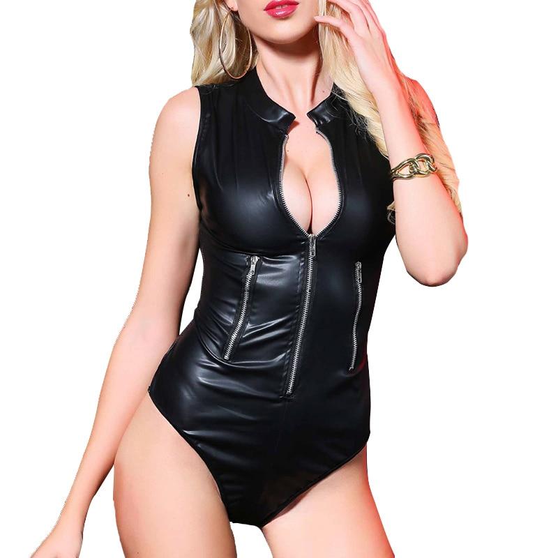 AIIOU Sexy Women Faux Leather Bodysuit Black Latex Catsuit Zipper Tube Dance Bodycon Female Bodysuit Rompers Costume Clothes