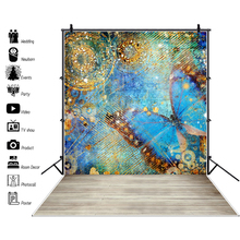 Laeacco Graffiti Butterfly Colorful Pattern Wall Wooden Floor Child Portrait Photo Background Photography Backdrops Studio