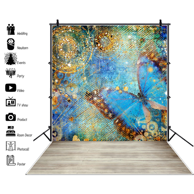 Laeacco Graffiti Butterfly Colorful Pattern Wall Wooden Floor Child Portrait Photo Background Photography Backdrops Photo Studio