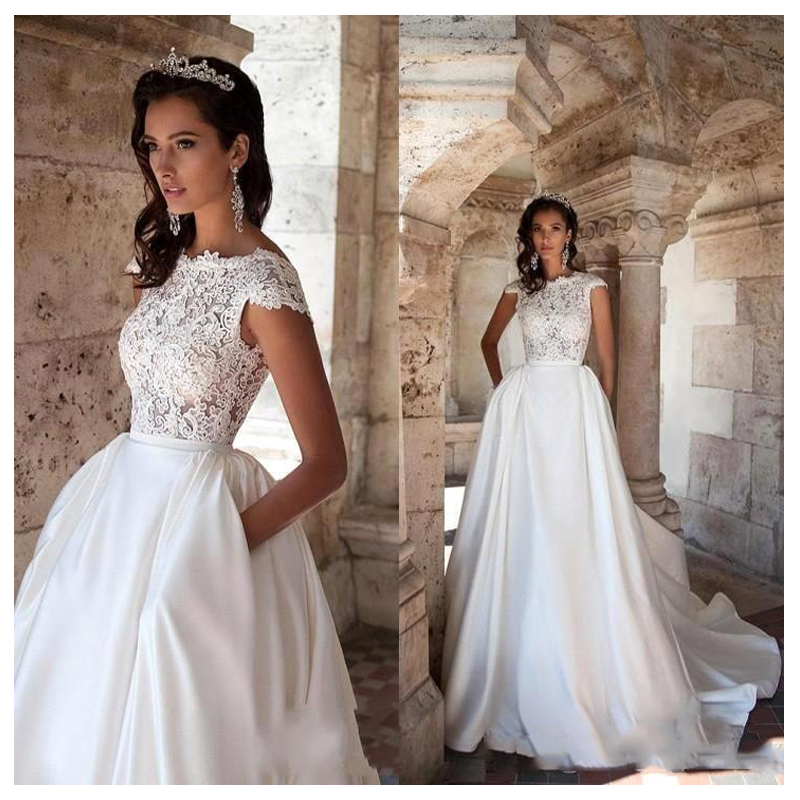 LORIE Princess Wedding Dress Short Sleeves Elegant Appliqued A-Line Bride Dresses With Pockets Boho Wedding Gown 2019
