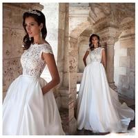 LORIE Princess Wedding Dress Short Sleeves Elegant Appliqued A Line Bride Dresses With Pockets Boho Wedding Gown 2019