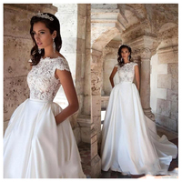 LORIE Princess Wedding Dress Short Sleeves Elegant Appliqued A Line Bride Dresses With Pockets Boho Wedding Gown 2019
