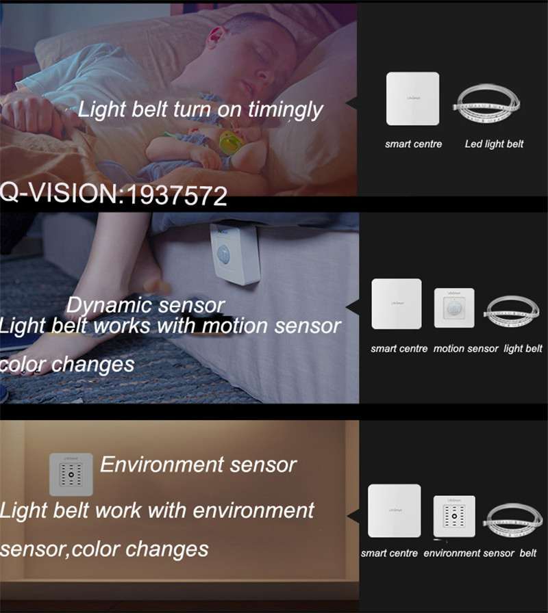 14-Lifesmart New LED Light Strip Wireless Remote Control by Phone16 Million Colors RGB Dimmable Smart Home Automation Customerized