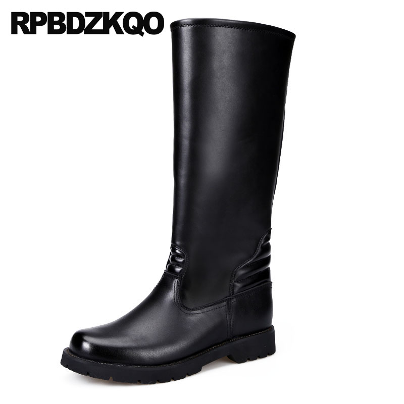 Round Toe Shoes Mens Leather Tall Boots Riding Designer Autumn Black Full Grain Plus Size 2018 Chunky Slip On Runway Knee High on tall pine lake