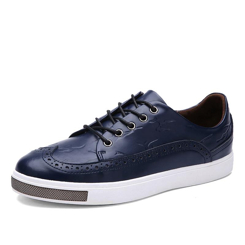 Estilo británico  del Resorte Nuevos Hombres de Cuero Genuino Zapatos Brogue Tal