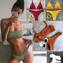 Biquini Bandeau Sexy Pleated Bikinis Women Swimsuit Swimwear Female Brazilian Push Up Bikini 2018 Set Beach Wear Bathing Suit(China)