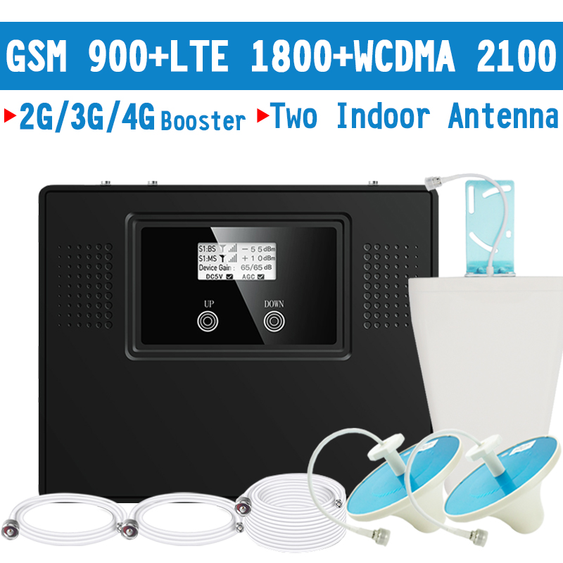 Walokcon 2G 3G 4G Big Power Signal Booster GSM Repeater 900 DCS / LTE 1800 WCDMA2100 Signal Amplifier 60dB Gain LCD Display Kit
