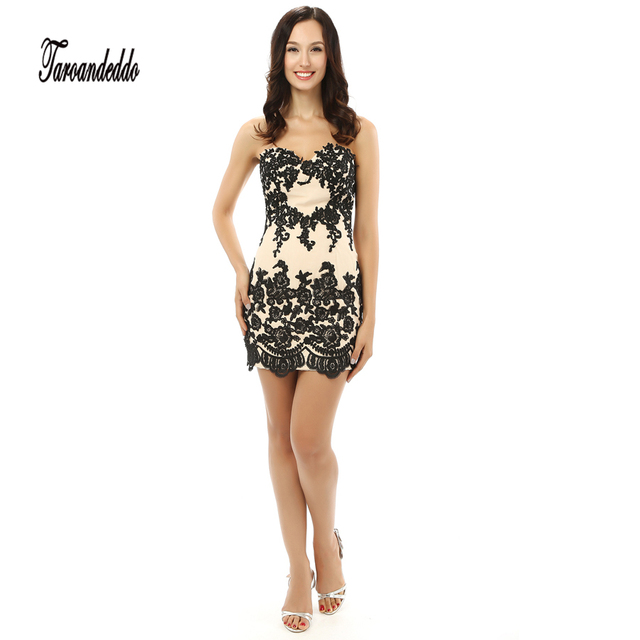 Sweetheart Neckline Black And Nude Short Prom Dresses Lace Up Mini
