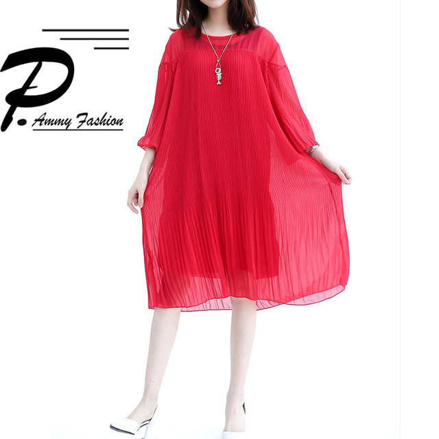 Summer Lagenlook Pleated Chiffon Bohemian Straight Dress Womens 2018 Half Sleeves  Plus size Dress Baggy Loose Vestidos Tunic 937dd1fe8998
