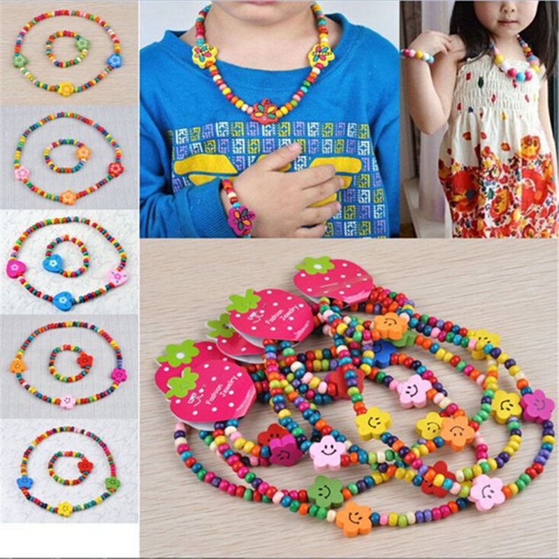7 Set Fashion Colorful Wooden Bead Cute Childrens