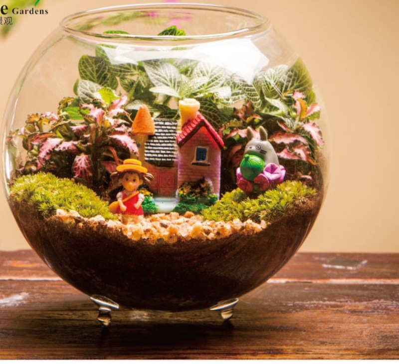 Creative Glass Aquarium Fishbowl For Fish Flower Plants Fairy Garden Home Decoration Vase Ball Fish Tank Round