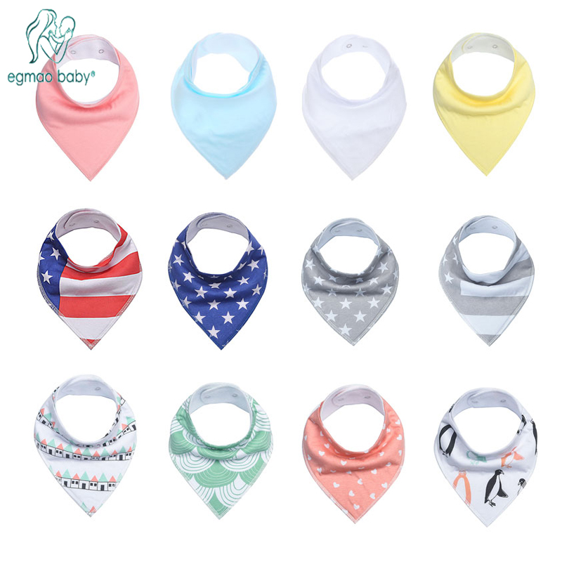 4 Pack Toddler Infant Baby Bib 100% Cotton Absorbent Bandana Dribble Bib with Adjustable Snaps Saliva Towel Burp Cloth