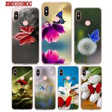 Transparent Soft Silicone Phone Case Red butterfly on flower for Xiaomi Redmi S2 Note 7 4 4X 5 5A 6 6A Pro Plus