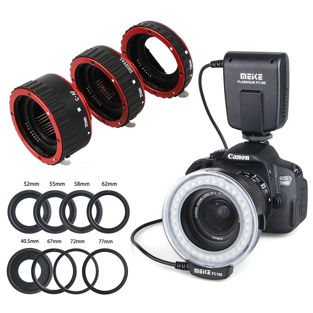 Meike FC-100 FC100 Macro anneau Flash & Auto Focus Tube anneau pour Canon EOS 650D 700D 70D 7D II 60D T4i T3i 6D Nikon FUJI clignote