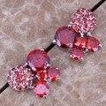Бабочка Красный Создания Гранат Высокое Качество Серебряный Стад Серьги Для Женщин N1520