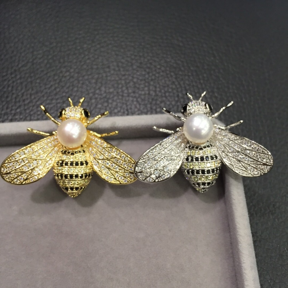wholesale 7 8MM natural fresh water pearl brooch pins copper with cubic zircon bee brooch pendant