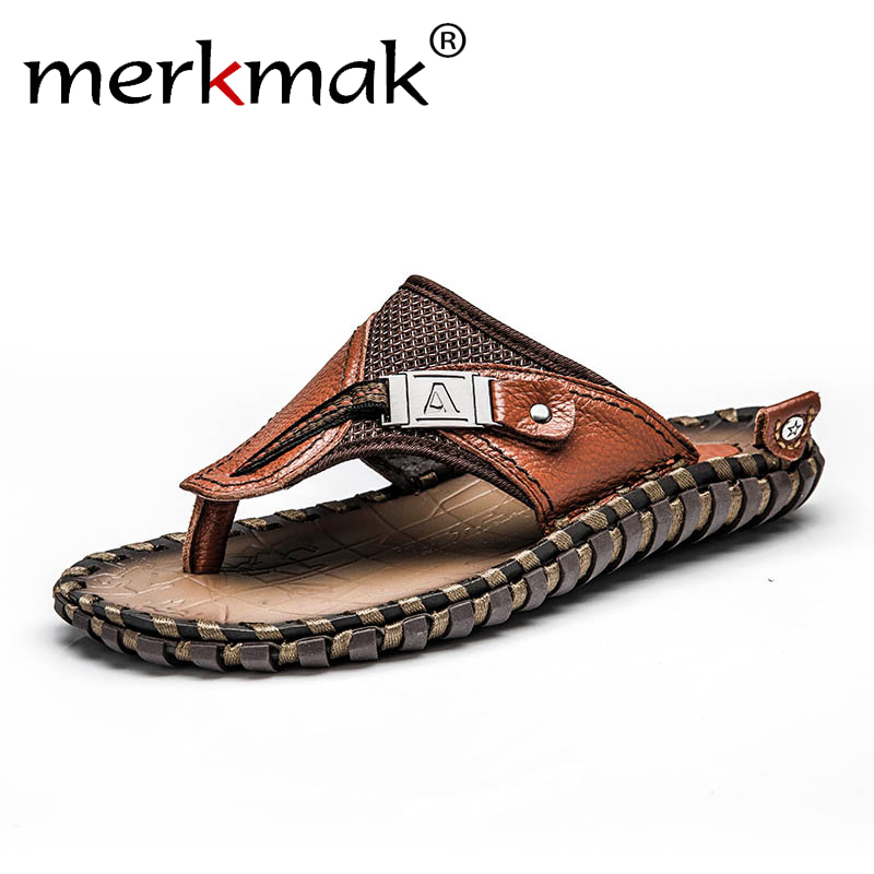 Merkmak Men Summer Rome Flip Flop Beach Slipper Comfortable Open Toe Slipper Fashion Flat Genuine Leather Slider 38-48 Drop Ship
