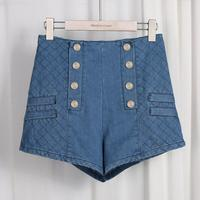 Wholesale New Fashion Female Double Pocket Zipper Metal Button Shorts Placket Double Breasted Buckle Denim Shorts