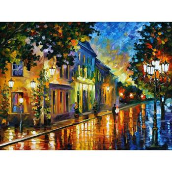 Contemporary art on the way to morning knife oil painting canvas beautiful landscape pictures for wall decor