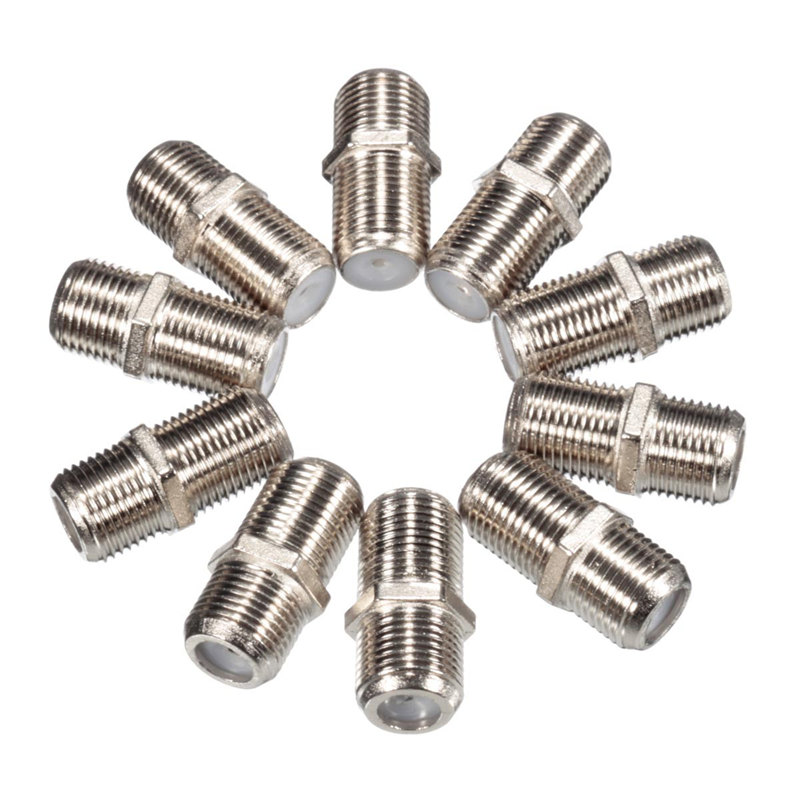 10x Aluminium Alloy Joiner Barrels Connector F Plug Coupler Adapter 4 Sky Plus HD TV Coax Cable