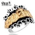 316L Titanium Stainless Steel Copper Skull Plated gold ring  Man's Fashion Biker Punk Ring  BR8-084