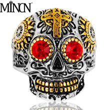 MINCN Skull ring men titanium steel skull jewelry stainless rings for