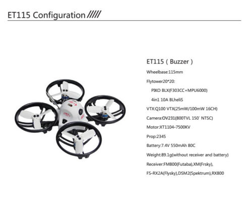 JMT ET115 PNP Brushless FPV Remote Control Racing Quadcopter Drone  DSM2 XM FM800 FS-RX2A Receiver Spare Parts jmt kingkong et100 rtf brushless fpv rc racing drone with flysky fs i6 6ch 2 4g transmitter radio system mini quadcopter