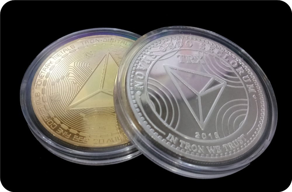 New Non-currency TRX Coins Virtual Metal Commemorative Coins TRX Coins Bitcoin Commemorative Coins Gift Drop Shipping 1