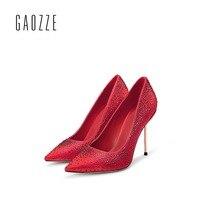 Gaozze пикантные Обувь на высоком каблуке туфли лодочки с острым носком женская обувь женщина мелкой красный рот Женские свадебные туфли 10 см