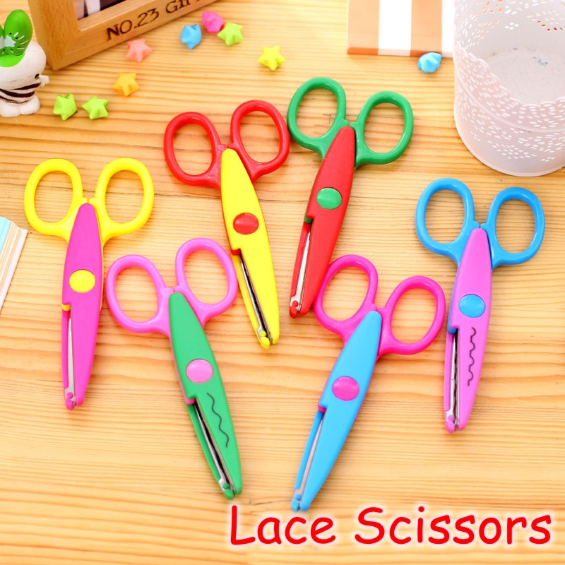 (18 Pieces/Lot) Kids Gift Handmade DIY Scrapbooking Scissors Craft Card Photo Album Wave Lace Edge Scissor YP-8786