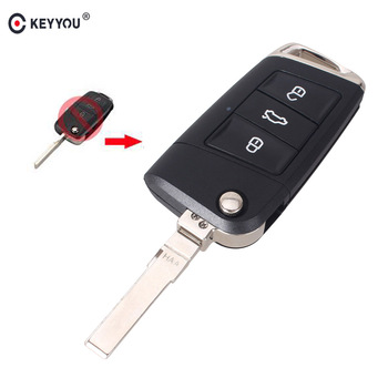 KEYYOU 10pcs/lot Modified For Volkswagen Golf 7 Relacement Smart Folding Flip Remote Car Key Shell Fob 3 Buttons With Blade