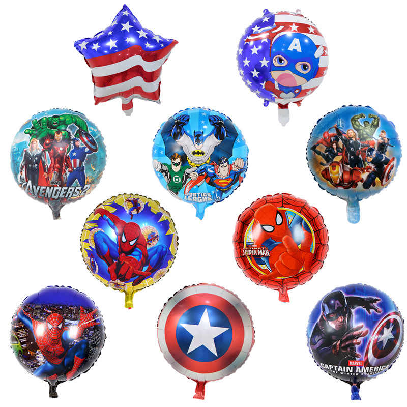New Marvel Avengers Foil Balloons Figures Toys Captain America Iron Man Spiderman Hulk Balloons Kid Boy Birthday Party Toys Gift