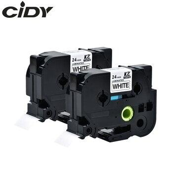 CIDY 2 шт. совместимая tze 24 мм ламинированная лента tze 251 tze251 tze-251 tz251 tz 251 черная на белой ленте для принтера этикеток brother