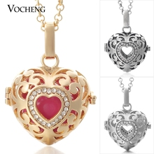 10pcs/lot Vocheng Baby Chime Heart Pendant Chain Necklace Essential Oil Diffuser Locket with Stainless Steel Chain VA 026*10