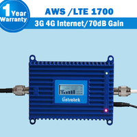 Lintratek LCD Display GSM AWS 1700mhz 70dB Gain Cellphone Signal Repeater ALC Function 20dBm Mobile Phone Booster Amplifier