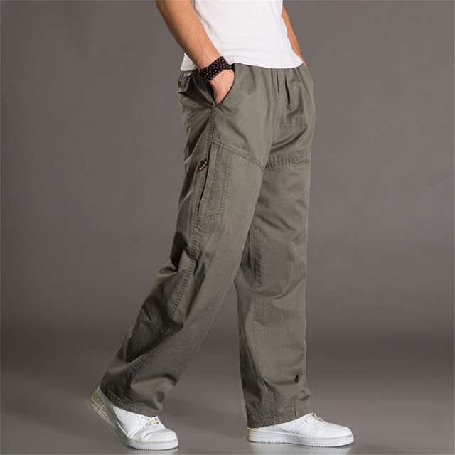 5XL 6XL Plus Size Casual Pants Men Summer Loose Thin  Men Pants Elastic Waist Joggers Multi Pockets Trousers Baggy Overalls A918