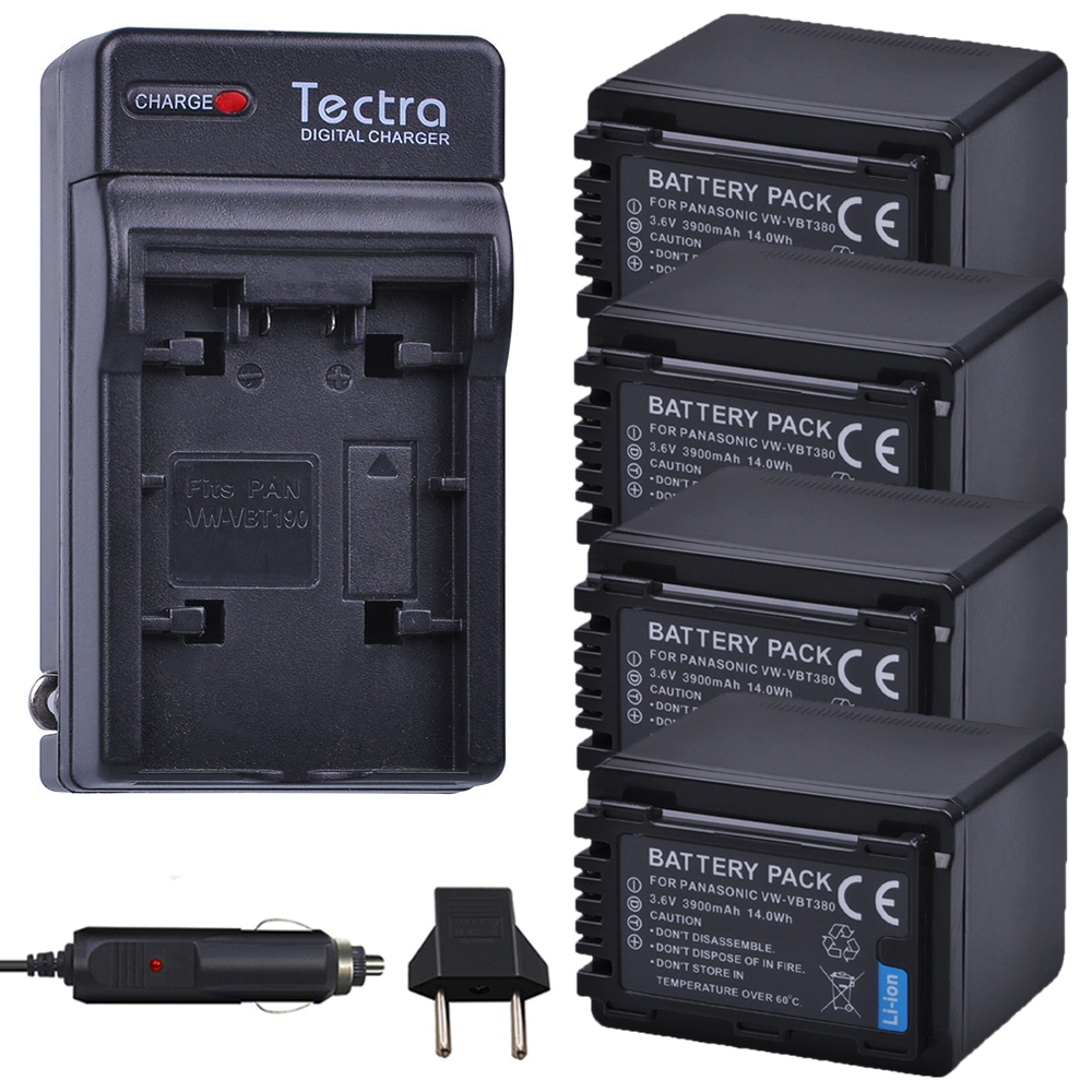 Tectra 4PCS VW-VBT380 VW VBT380 Battery+AC Charger+Car Plug for Panasonic HC-V180GK HC-WX970GK HC-V380GK HC-W580GK W580MGK V380 palo 1pc 3900mah vw vbt380 vw vbt190 battery charger plug for panasonic hc v720 hc v727 hc v730 hc v750 hc v757 hc v760 hc v770