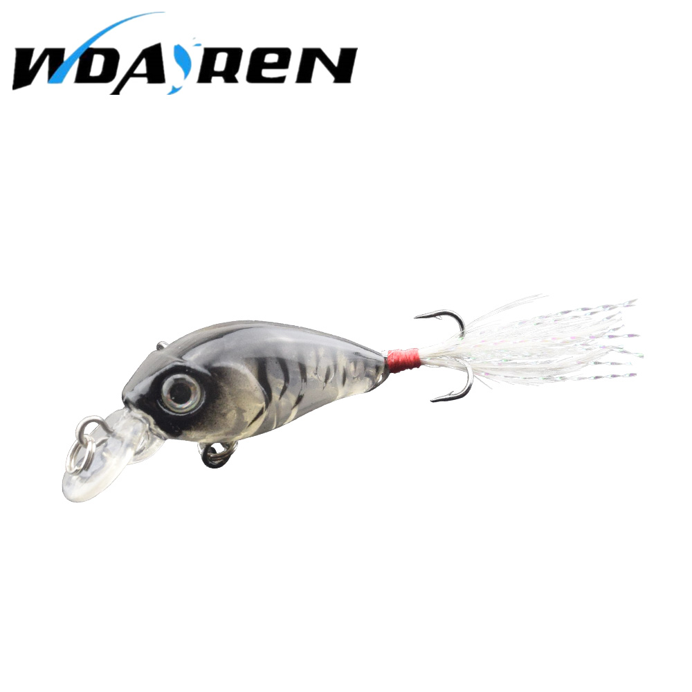 WDAIRE Fishing Lures Crank Baits Mini 3.6cm 4g Crankbait 3D Fish Eye Artificial Lure Bait with Feather Lifelike Fake Lure FA-353