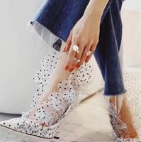 Sestito 2019 Newest Style Girls Sweety Dot Print High Heels Pumps Ladies Pointed Toe Mesh Dress Runway Shoes Women Slip on Shoes