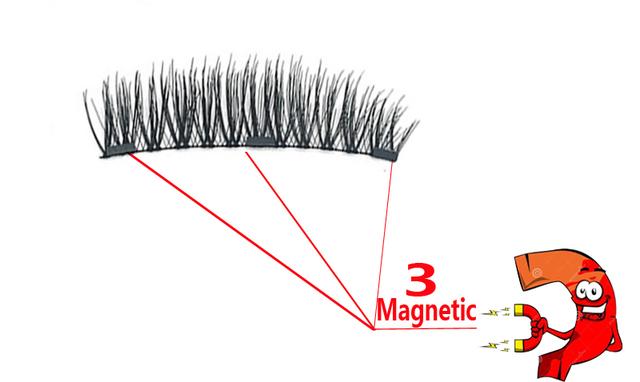 Producto de Importación Pestañas magnéticas con 3 imanes hechas a mano caja de regalo