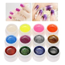 Yinikiz 12 Glitter Colors Cover Painting UV Gel Soak Off LED Gel Nail Polish Nail Art Tips Extension Manicure for DIY Tools