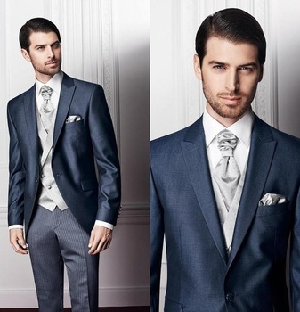 New Arrival 2017 Modern Wedding Ceremony suit Navy Slim Fit Custom Made Groom Tuxedos Bridegroom Suit