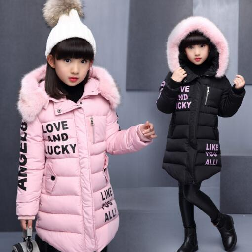 New Winter Children Outerwear & Coats Girls Long Parkas Winter Jackets Hooded Cotton Padded Baby Kids Warm Clothes 4- 12 Years kamiwa 2018 cotton padded girls winter coats and jackets hooded thick long kids outwear warm clothes parkas baby girls clothing
