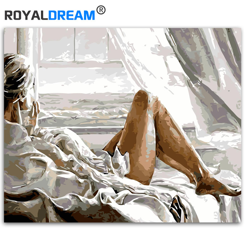 ROYALDREAM Far From Figer Painting DIY Painting By Numbers Kits Coloring Paint By Numbers Modern Wall Art Picture Gift|Painting & Calligraphy| |  - title=