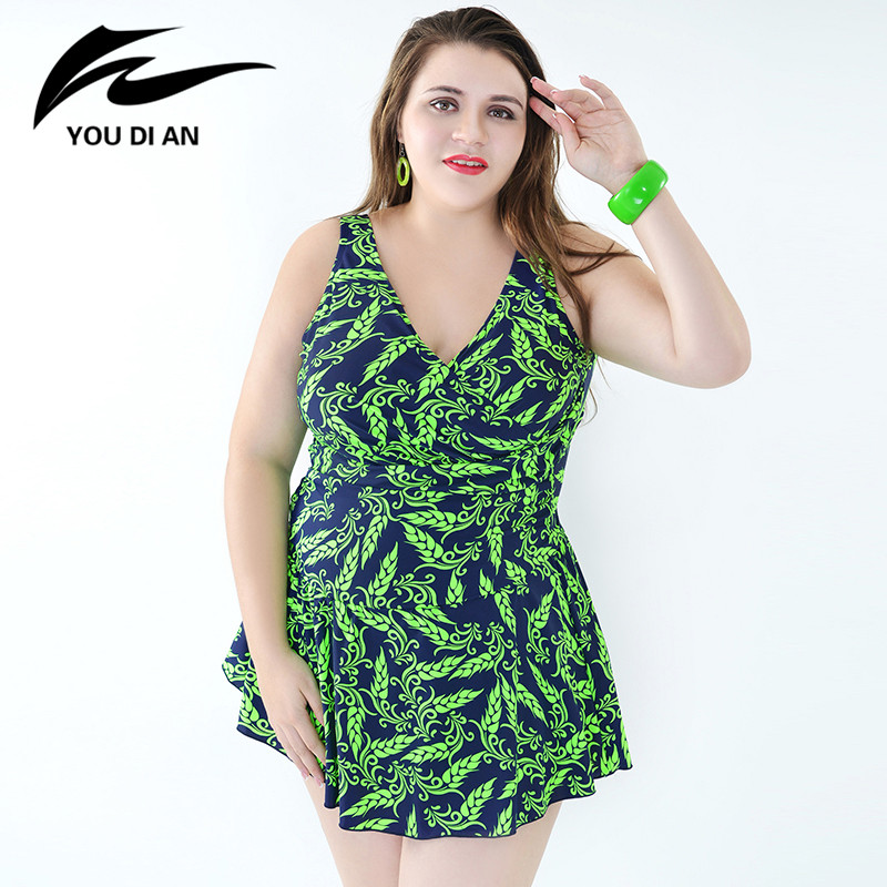 Print Summer Beach Dress Plus Size One Piece Swimsuit 2017 Sexy One Piece Swimwear Bathing Suit