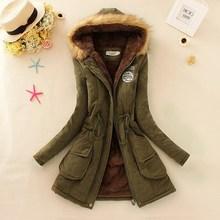 Плюс размер sml xl XXL XXXL (бюст 116 см) 2015 новые зимние пальто длинное пальто хан издание с капюшоном женщин хлопка ватник