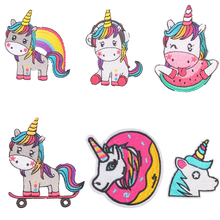 Hippie Unicorn Iron on Patches Magic Accessories Embroidered for Clothes Applique Kids Dress T-shirts DIY E
